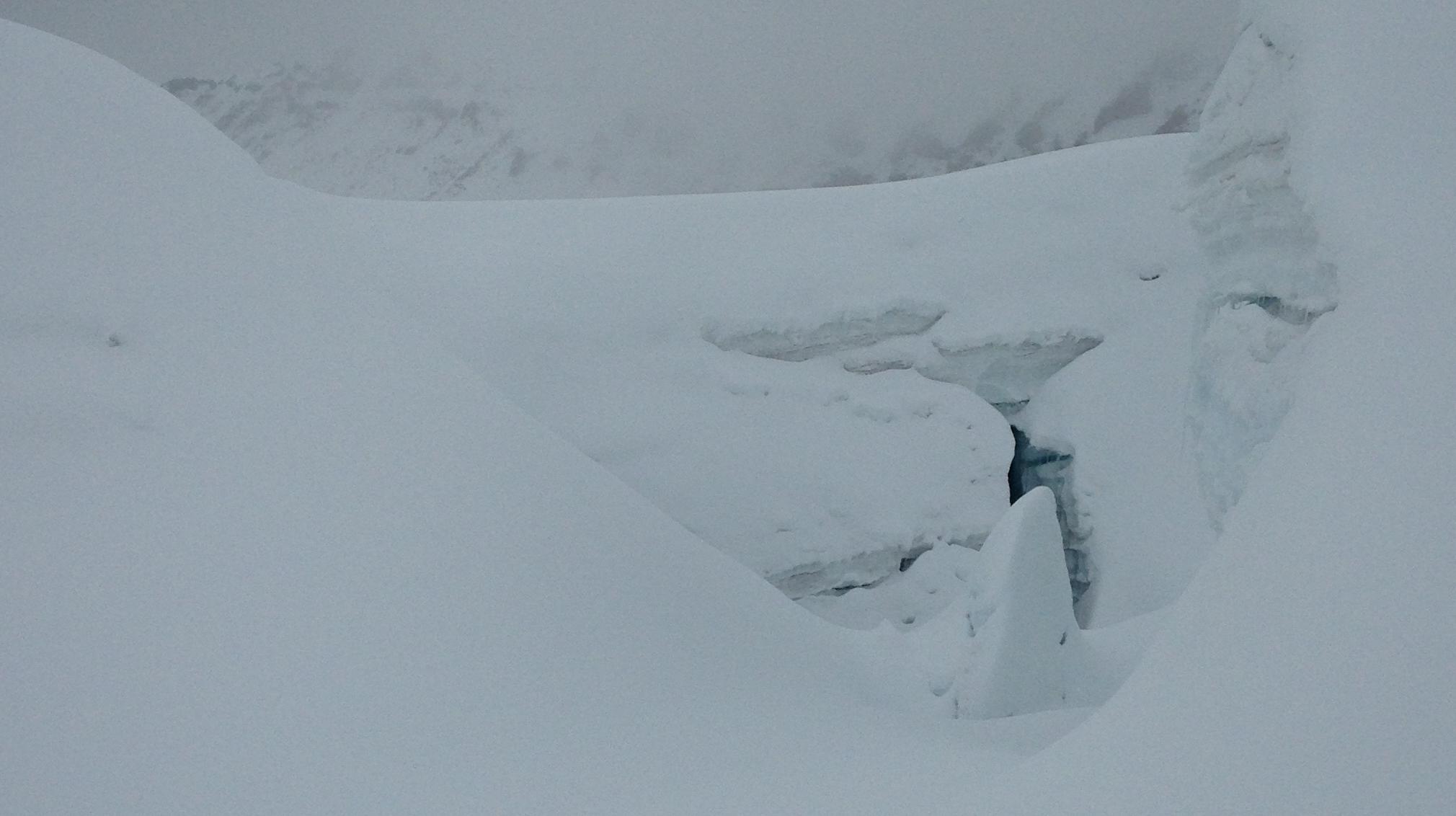 Complicated crevasse structure below Camp 2.